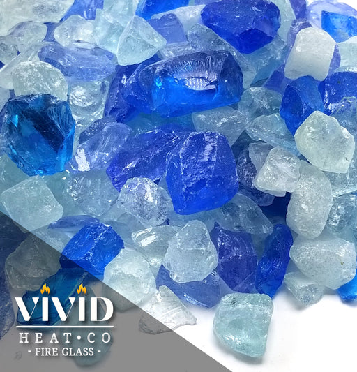 "VIVID Heat - Vibrant Luster ""Bahama Blue, Aqua, Clear Blend"" 1/4"" Rough Crushed Gem Style, (Price by the Pound) - Tempered Fire Glass Rock for Fireplace and Fire Pit"