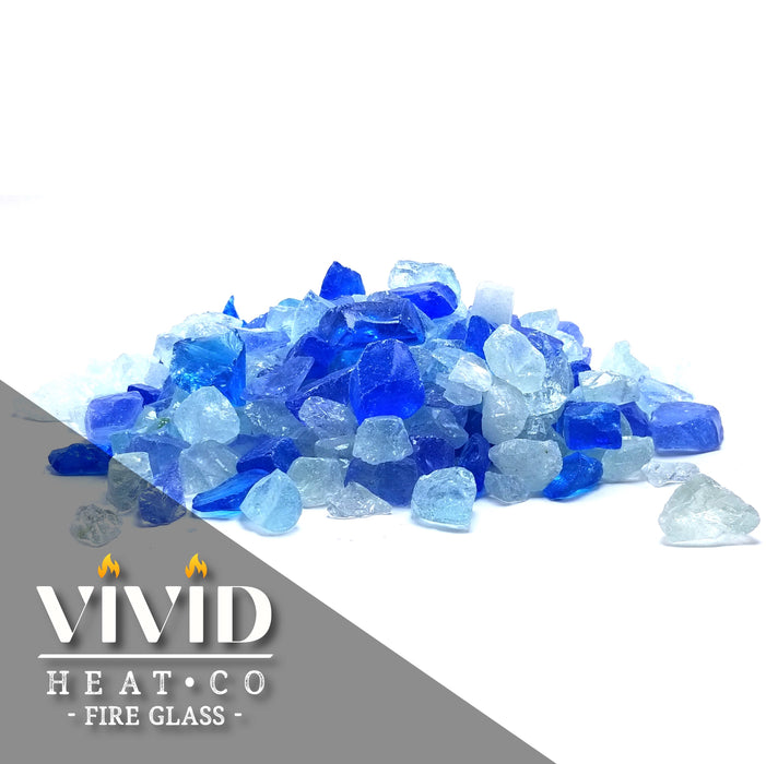 "VIVID Heat - Bahama Blue, Aqua, Clear 1/2"" - 3/4"" Large Crushed Fire Glass for Fireplace & Fire Pit"