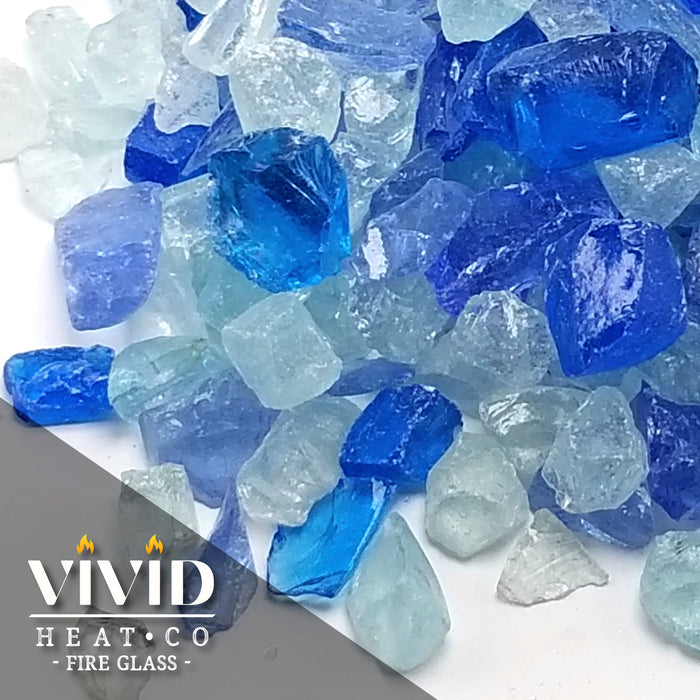"10lbs ""Bahama Blue, Aqua, Clear Blend"" 1/2"" - 3/4"" Tempered Fire Glass"
