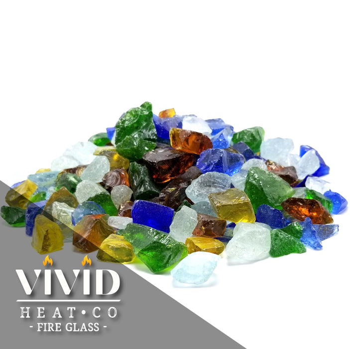 "10lbs ""Beach Sea Glass"" Blue, Amber, Green 1/2"" - 3/4""  - Tempered Fire Glass"