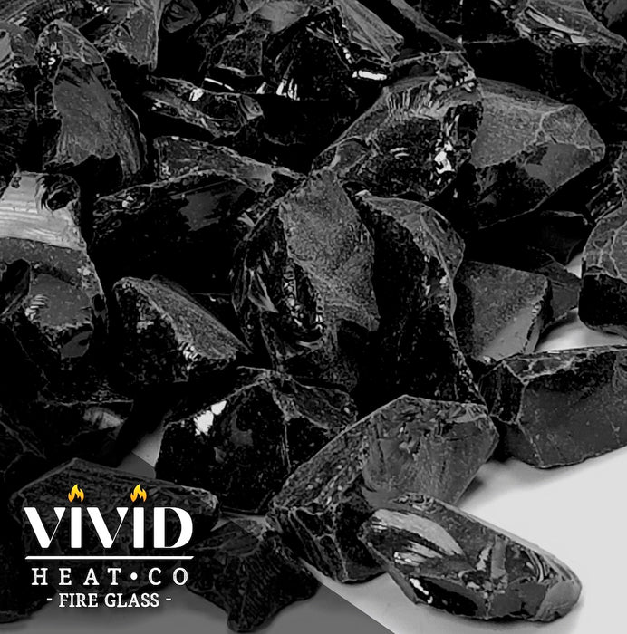 "VIVID Heat - Vibrant Luster ""Onyx Black"" 1/4"" Rough Crushed Style, (Price by the Pound) - Tempered Fire Glass Rock for Fireplace and Fire Pit"