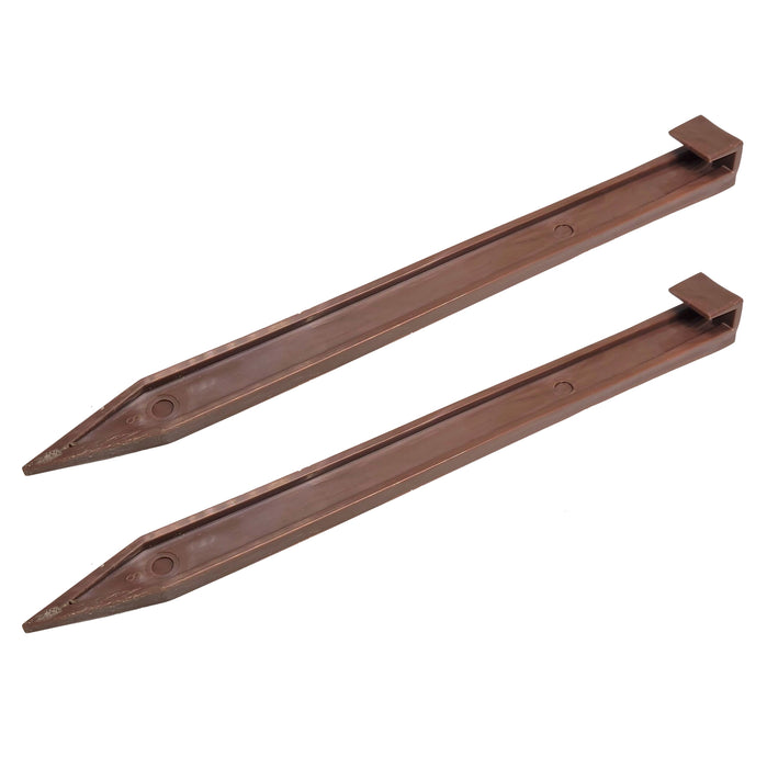 "10"" Brown Plastic Landscape Edging Securing Anchoring Stakes - Fits Easyflex"
