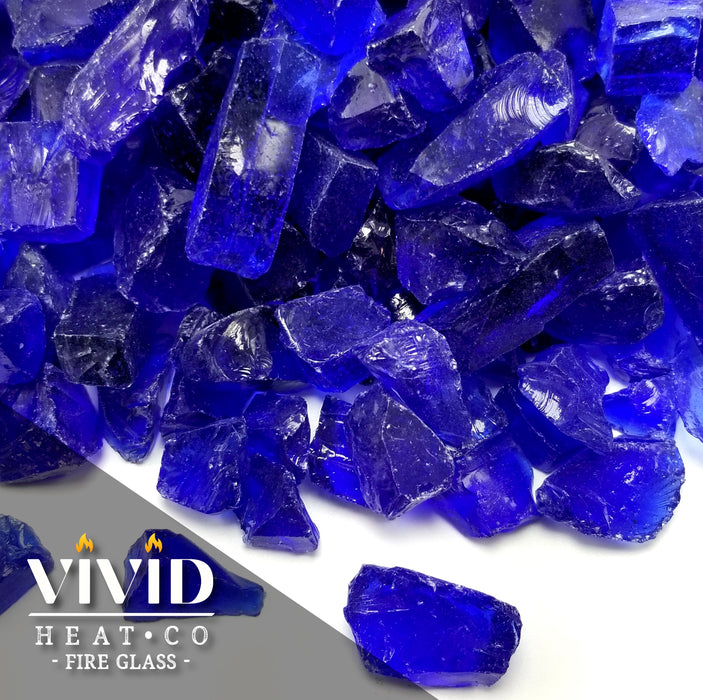 "VIVID Heat - Vibrant Luster ""Cobalt Blue"" 1/4"" Rough Crushed Gem Style, (Price by the Pound) - Tempered Fire Glass Rock for Fireplace and Fire Pit"