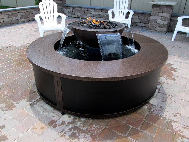 HPC Hearth H2Onfire 360 - Copper Fire Water Insert, Fire Pit & Waterfall Bowl w/ Electronic Ignition