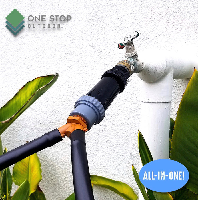 Drip Irrigation Faucet Adapter Connector Kit: Connect Two Lines 1/2 Inch Tubing to Faucet or Garden Hose