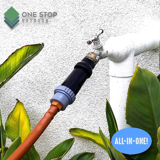 "One Stop Outdoor Drip Irrigation Faucet Adapter Kit: Connect Any 1/2"" Tubing to Faucet or Garden Hose"