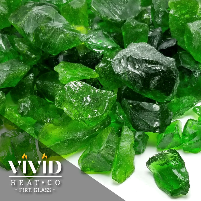 "10lbs VIVID Heat ""Emerald Green"" 1/4"" - 1/2"" Medium, - Tempered Fire Glass"