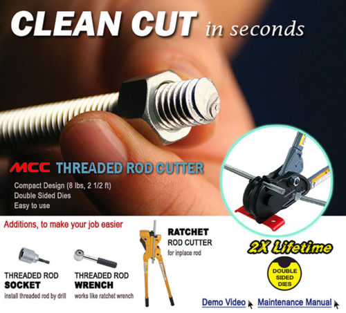 MCC RAB-3U - Ratchet Action Threaded Steel Rod Cutter - Allows for Mobil, Vertical & In-Place Cut (2X Lifetime Double Sided Die)