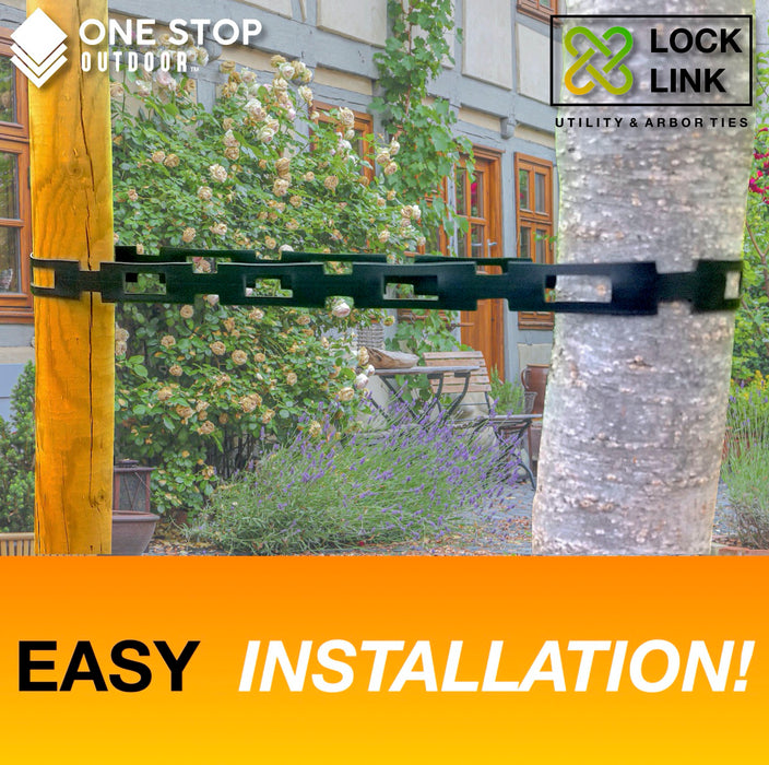 "Lock Link - (100' Feet x 1"" Wide) Strong Flexible Plastic Chain Locking Strap - Tree & Plant Ties for Staking"