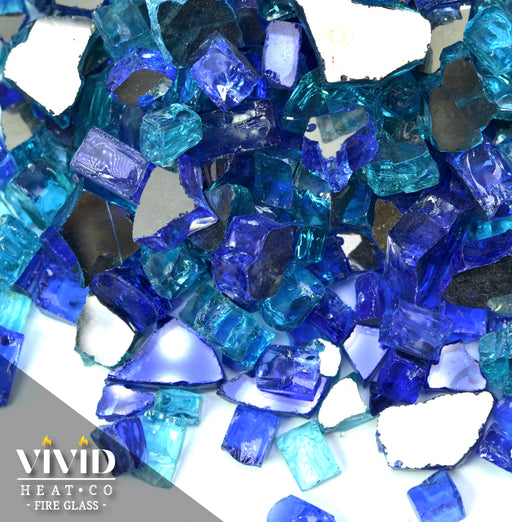 "Vibrant Luster 1/2"" Medium ""Tropical Blend Blue"" (by the Pound) - Tempered Reflective Fire Glass Rock for Fireplace and Fire Pit"
