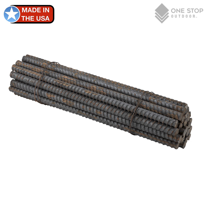 USA Made - #3 Straight Rebar Stakes Heavy Duty Steel Ground Anchors 12 inch