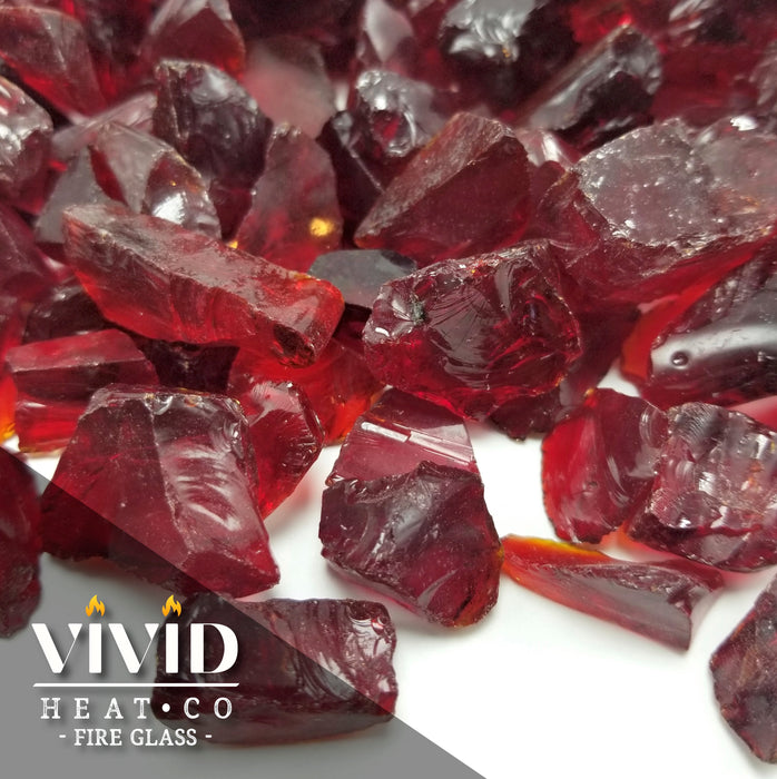 "VIVID Heat - ""Ruby Red"" 1/4"", (Price by the Pound) Tempered Fire Glass Rock"