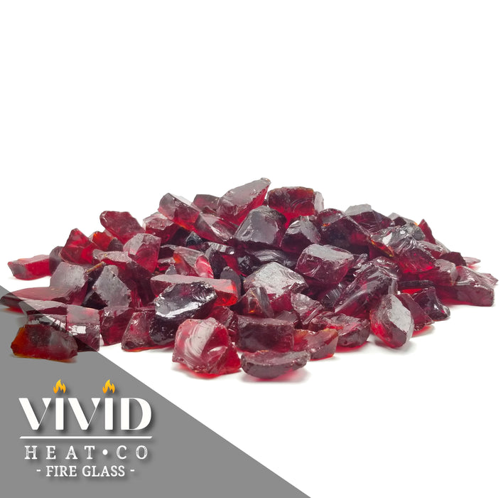"VIVID Heat - Vibrant Luster ""Ruby Red"" 1/2"" - 3/4"" Large Rough Gem Size, (Price by the Pound) - Tempered Fire Glass Rock for Fireplace and Fire Pit"