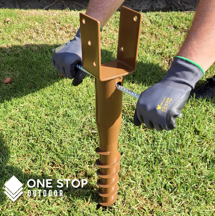 "Ground Anchor U-Model Screw Post Stake - Fits Standard 4x4 (3.5"" X 3.5"" Inch) Secure Mailbox Posts - Brown"