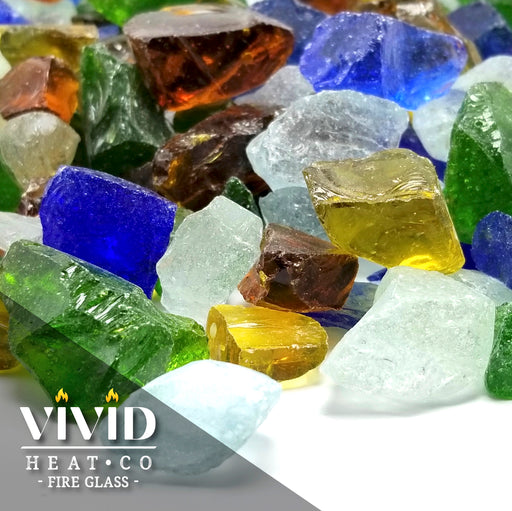 "VIVID Heat ""Beach Sea Glass"" 1/2"" - 3/4"" Large - Fire Glass Blue, Amber, Green, Etc."