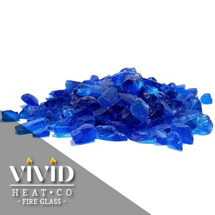 "VIVID Heat - Turquoise Blue 1/2"" - 3/4"" Large Crushed Fire Glass for Fireplace & Fire Pit"