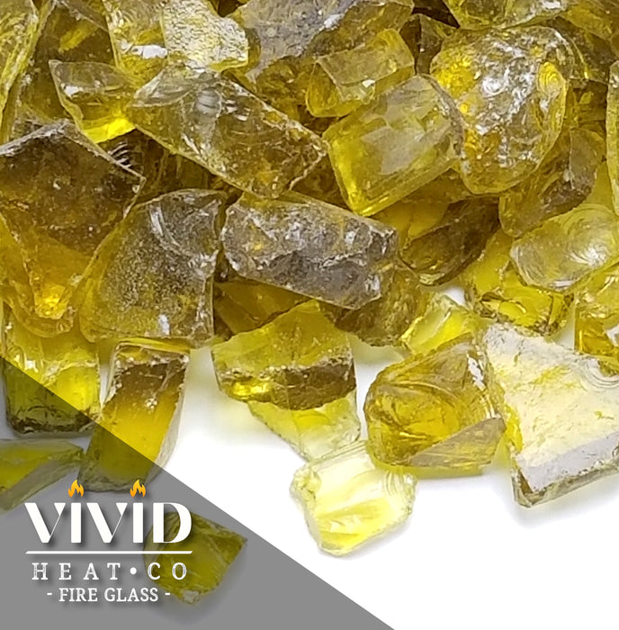 "VIVID Heat - Vibrant Luster ""Ember Yellow"" 1/4"" Rough Crushed Gem Style, (Price by the Pound) - Tempered Fire Glass Rock for Fireplace and Fire Pit"