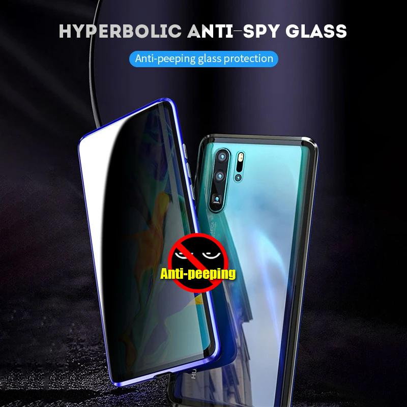 Luxury Full Body Protective Magnetic Case Anti-peeping  Two Side Glass Cover For HUAWEI P30 MATE20 PRO