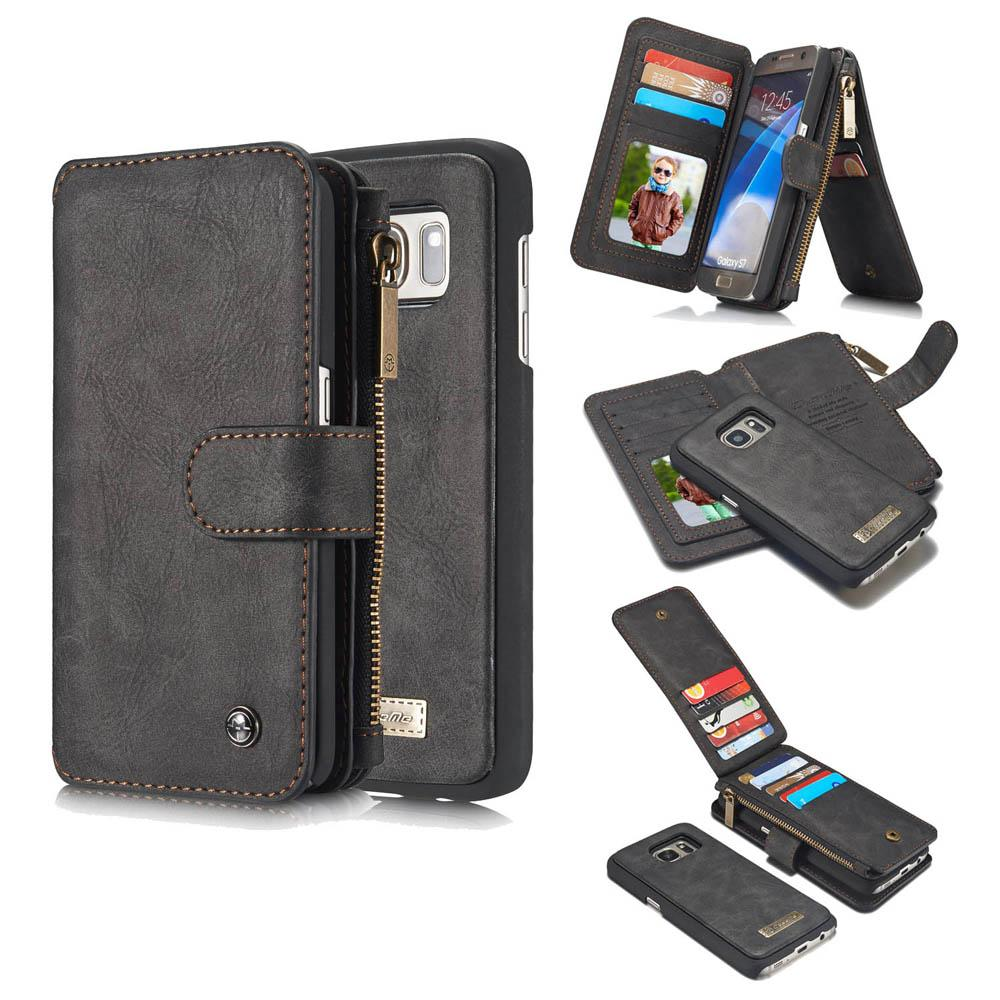 CaseMe FOR Samsung Galaxy S7 Zipper Wallet Magnetic Flip Folio Case Detachable 2 in 1 Back Cover