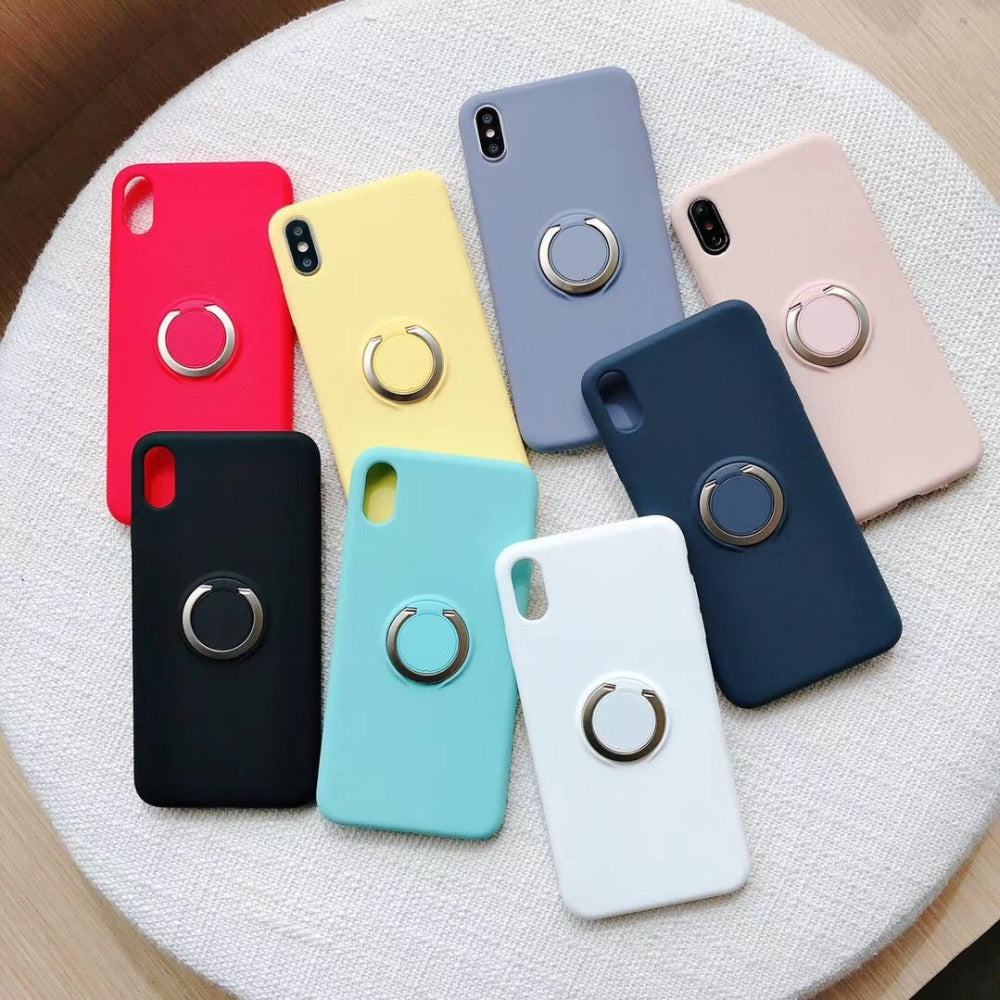 Luxury  Original Magnetic Bracket Holder With 360 Phone Ring Liquid Silicone Phone Case For iPhone XS Max XR X 6 6S 7 8 Plus Case