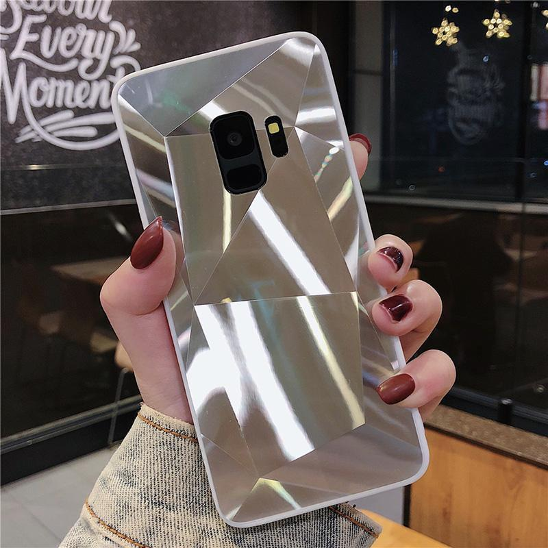 3D Diamond Reflective Glass Laser  Phone Case For Samsung