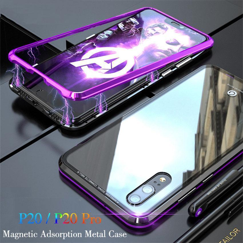 Magnetic Adsorption Metal Phone Case For huawei p20 pro Luxury Ultra Magnet Tempered Glass 360 Full Cover For Huawei P20 Pro P 20