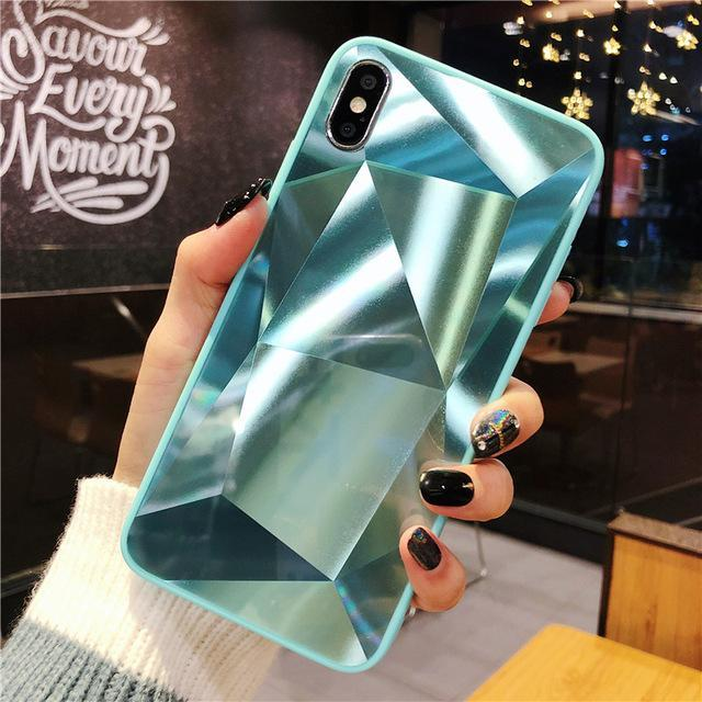 3D Diamond Reflective Glass Laser  Phone Case For iPhone 6 6S 7 8 PLUS X XS MAX XR
