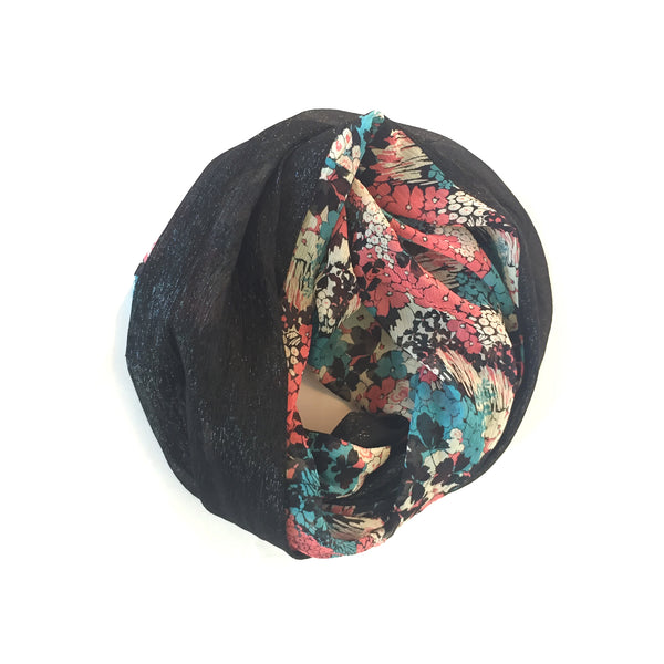 Mobius Scarf - Floral + Black Sparkle