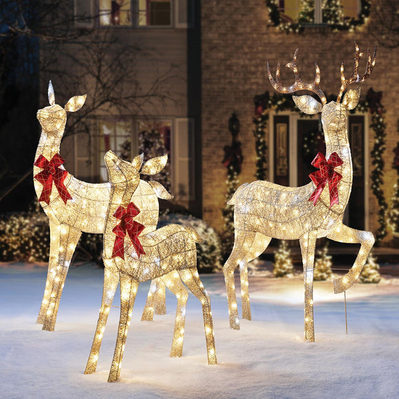 3-Piece Gold Mesh Deer Family