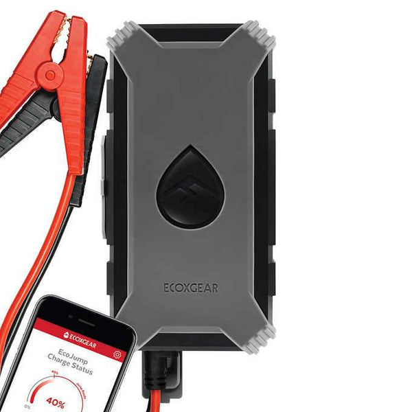 Grey ECOXGEAR EcoJump Waterproof Auto and Truck Jump Starter /& Cell Phone Charger with Bluetooth App