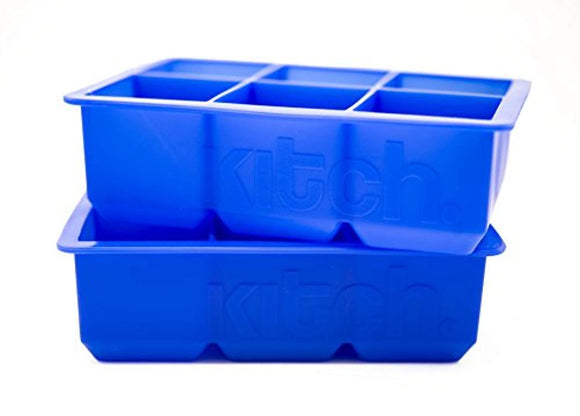 Large Cube Silicone Ice Tray, 2 Pack by Kitch, Giant 2 Inch Ice Cubes