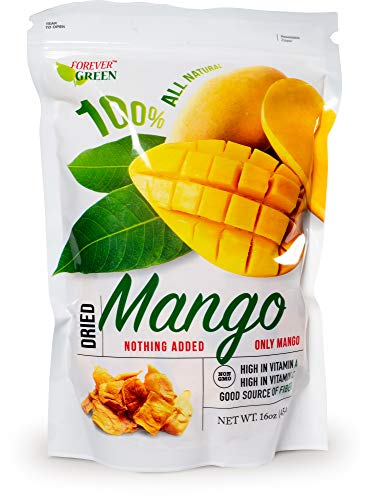Paradise Green Dried Golden Thailand Mango 100% All Natural No Added Sugar No Preservatives 16 OZ