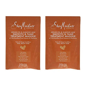 Shea Moisture Argan Oil & Almond Milk Smooth & Tame Treatment Masque Pack Of 2, Oz