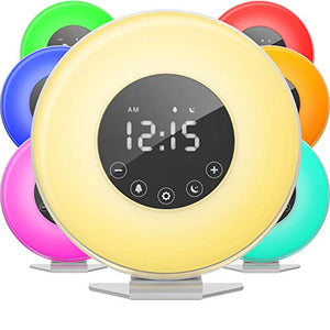 hOmeLabs Sunrise Alarm Clock - Digital LED Clock with 6 Color Switch and FM Radio for Bedrooms - Multiple Nature Sounds Sunset Simulation & Touch Control