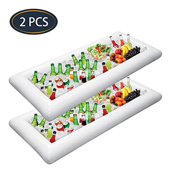 Jasonwell 2 PCS Inflatable Serving Bars Ice Buffet Salad Serving Trays