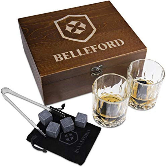 Whiskey Stones & Whiskey Glass Set of 2 Whisky Bourbon Glasses and 8 Scotch Wisky Granite Ice Cubes