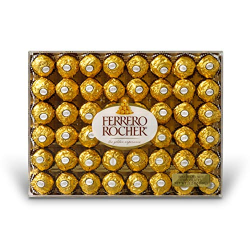 Ferrero Rocher Fine Hazelnut Chocolates, 48 Count, Chocolate Gift Box, 21.2 oz