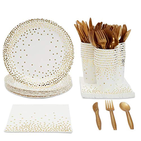 Juvale Gold Foil Party Supplies (Serves 24) Plates
