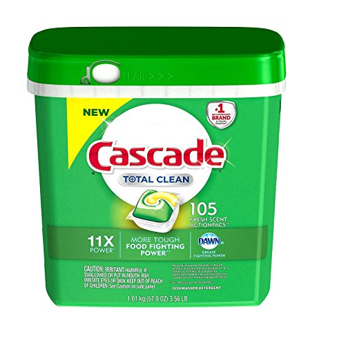 Cascade Total Clean Gel Dishwasher Detergent Pacs, Fresh Scent (105 ct.) AS