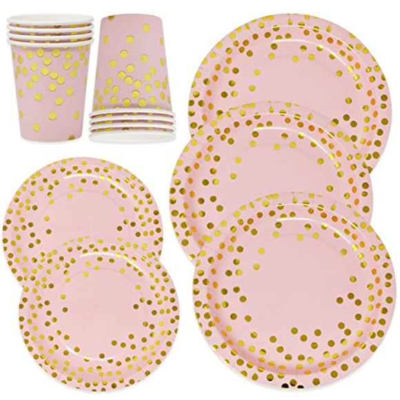 Pink and Gold Party Supplies Paper Plates and Cups Set for 50 Guest