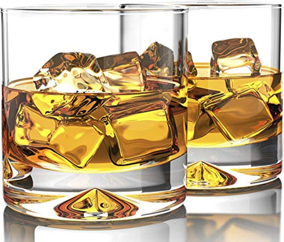 Premium Whiskey Glasses - Lead Free Hand Blown Crystal - Thick Weighted Bottom - 12oz Set of 2