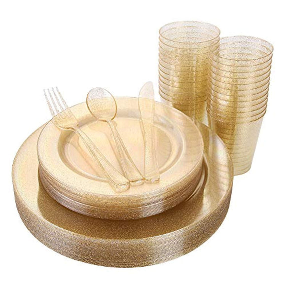 150 Pieces Gold Disposable Plates & Plastic Silverware & Cups