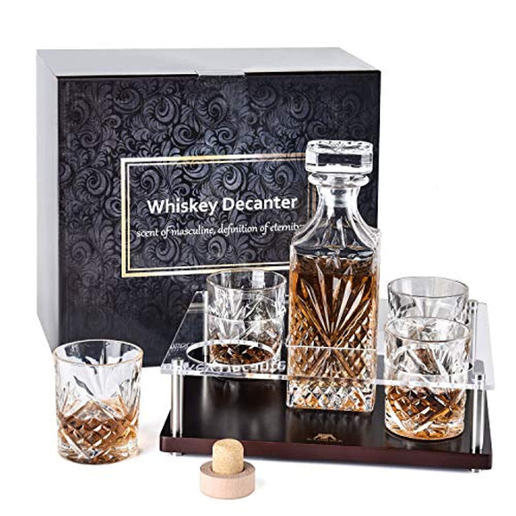 Whiskey Decanter Set with Wood Stand, Crystal Whiskey Decanter With 4 Glasses with Wooden Base