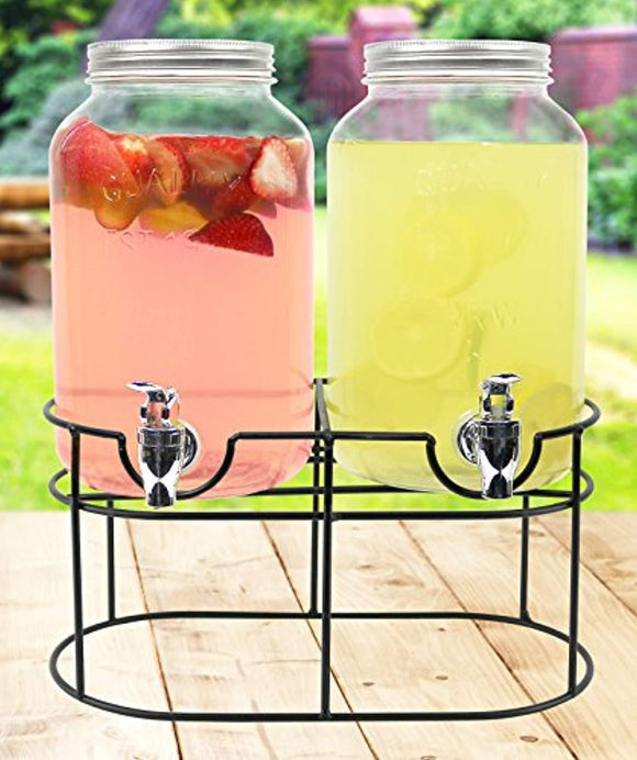 Estilo 1 gallon Glass Mason Jar Double Beverage Drink Dispenser