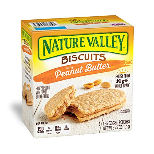 Nature Valley Biscuits, Peanut Butter, 5-ct ,1.4 oz (Pack of 4)