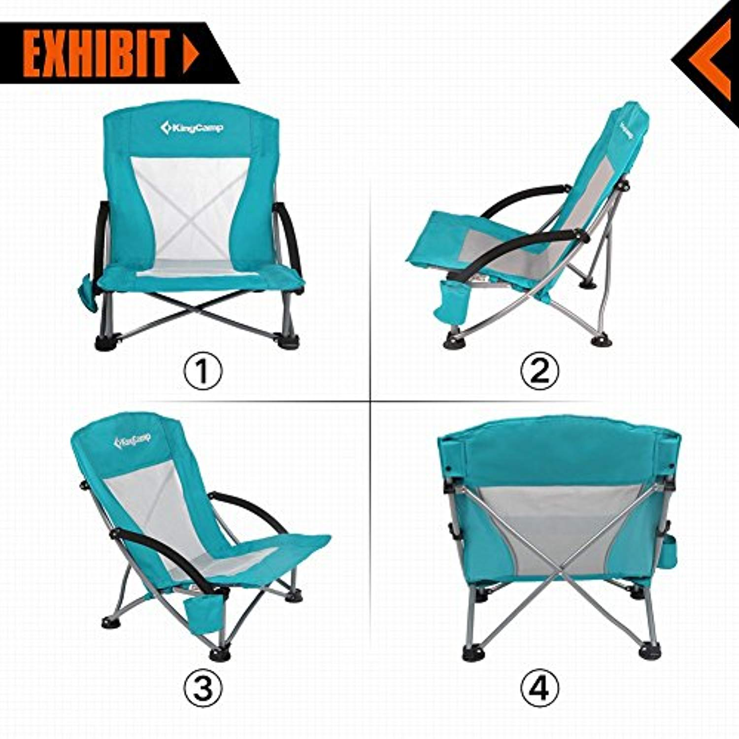 KingCamp Low Sling Beach Chair Camping Concert Folding Chairs Low Mesh Back
