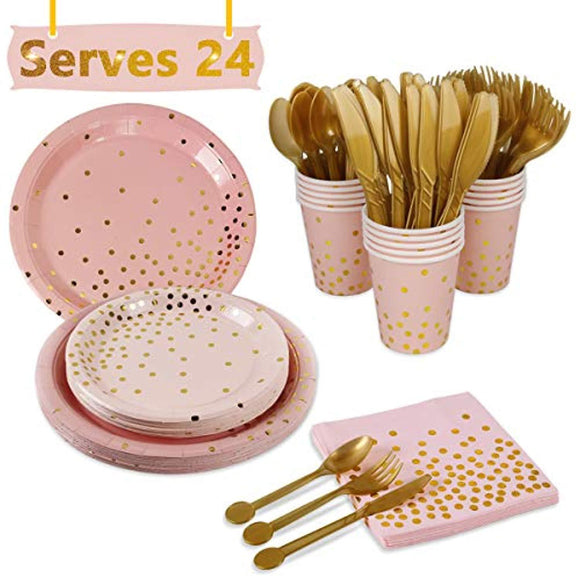 Pink Gold Party Supplies Disposable Tableware