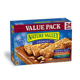 Nature Valley Granola Bars, Crunchy, Variety Pack of Oats 'n Honey, Peanut Butter, Maple Brown Sugar, 12 Pouches, 2-Bars Per Pouch (Pack of 3)