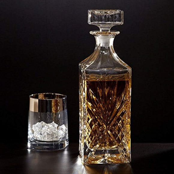 Crystal Whiskey, Wine, Bourbon, Tequila or Scotch Decanter Vintage Square Design Decanter Bottle