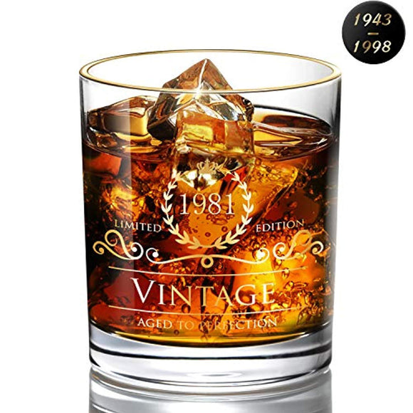 1981 38th Birthday/Anniversary Gift for Men/Dad/Son, Vintage Unfading 24K Gold Hand Crafted Old Fashioned  Whiskey Glass